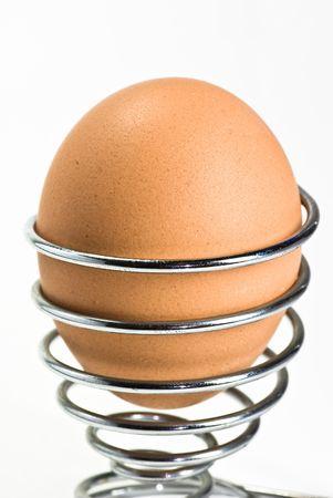 eggcup: egg on metal eggcup
