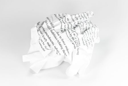 crumpled paper on white background Stock Photo - 5134009