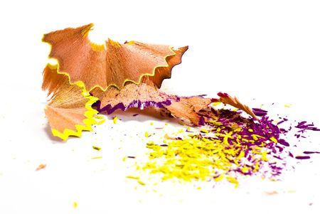 pencil shavings on white background Stock Photo - 5133918