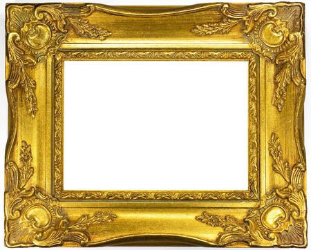 golden picture frame on white background photo