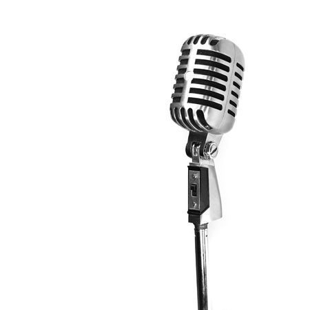 old microphone: vintage microphone isolated on white background Stock Photo