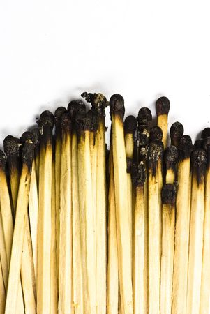 spent: matches on white background