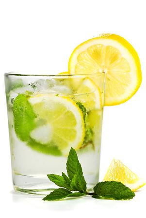 glass and lemon isolated photo
