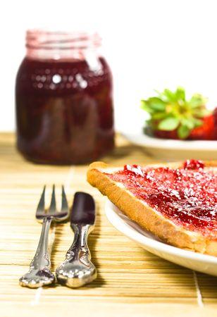 marmalade, fork and knife closeup photo