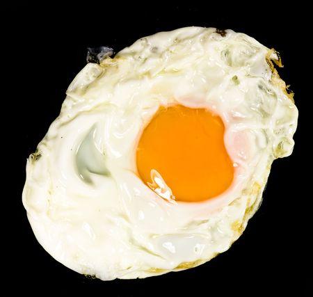 fried egg on black background photo
