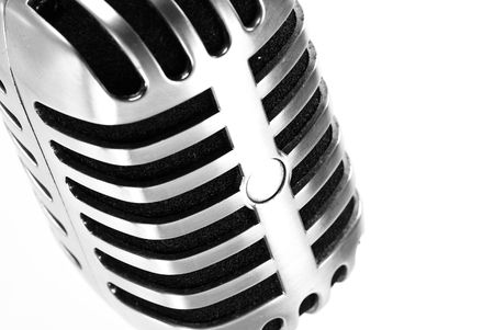 metal microphone on white background photo