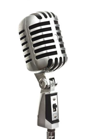 vintage metal microphone on white background photo