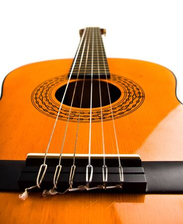 classic guitar on white background photo