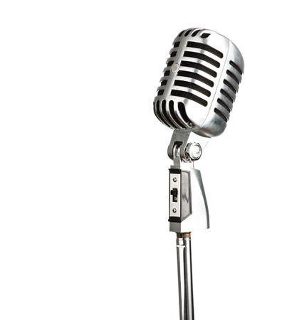 microfono antiguo: cosecha de micr�fono de metal en el fondo blanco Foto de archivo