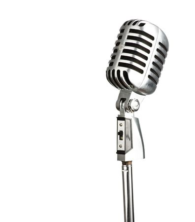 old microphone: metal vintage microphone on white background Stock Photo