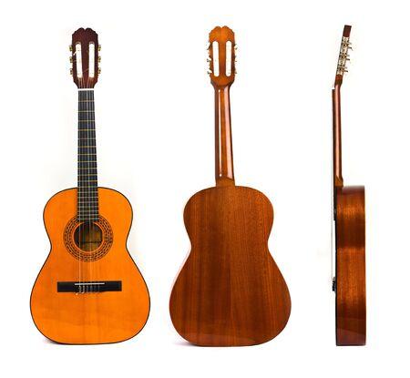 lateral: delanteras, traseras y laterales de guitarra cl�sica aisladas