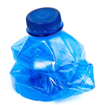 plastic container: crushed water bottle isolated Stock Photo