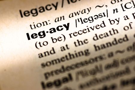 derivation: legacy word on text closeup