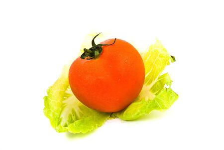 tomato and lettuce isolated photo