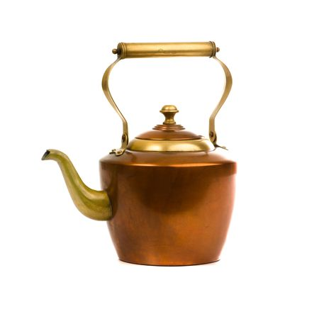 tea kettle: ancient decoration isolated on white background