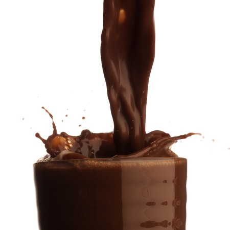 melted chocolate: chocolate shake splash Stock Photo