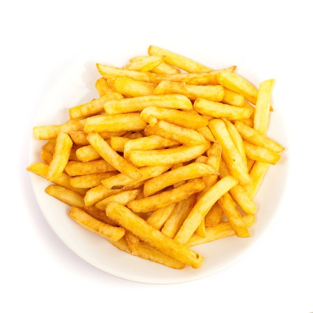 french fries plate: fried potatoes