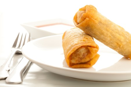 spring roll: chinese roll Stock Photo