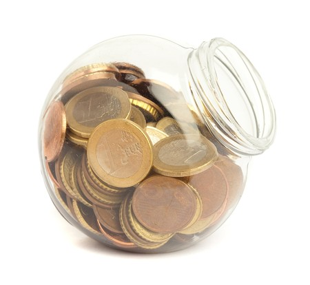 glass jar: euro cents on bottle