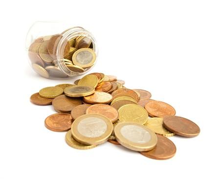 euro cents on bottle photo