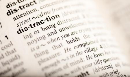 distraction: distraction word Stock Photo