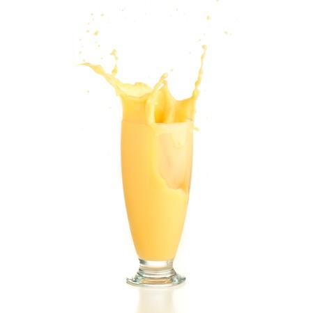 vanilla shake splash on a white background photo