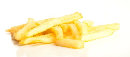 fried potatoes isolated on a white background photo