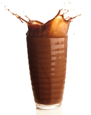 liquid chocolate: chocolate shake splash on a white background Stock Photo