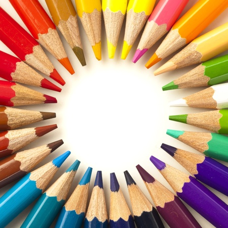 crayons stack circle on a white background Stock Photo - 8228805