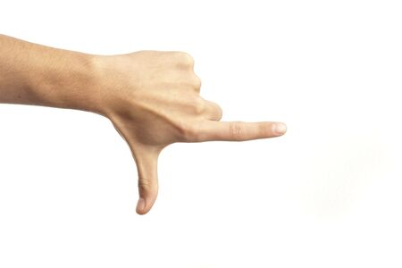 cut wrist: hand pointing isolated on a white background