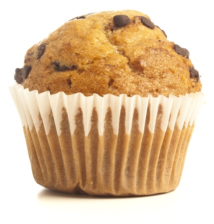 chocolate chips: chocolate muffin isolated on a white background Stock Photo