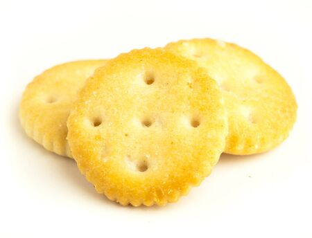 crackers: salt biscuits isolated on a white background