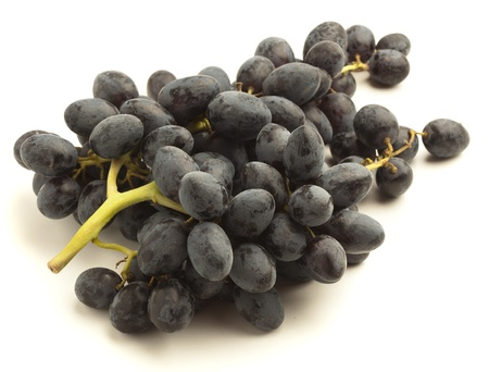 black grapes isolated on a white background photo