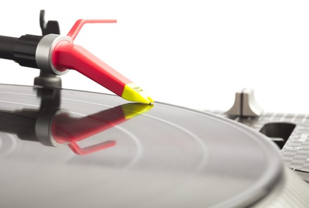 extreme closeup of dj plate and needle photo