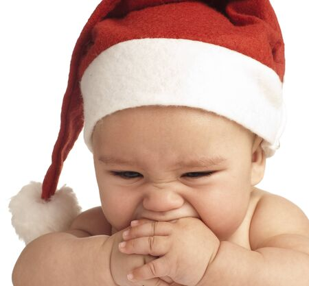 baby with a christmas hat on white background Stock Photo - 8413045