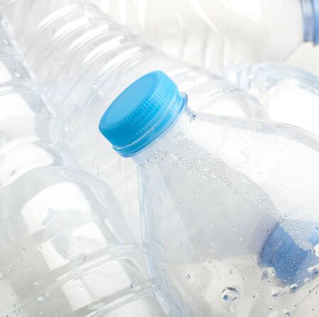 water plastic bottle stack to recycle extreme closeup Stock Photo - 8452365