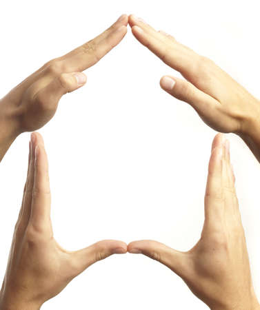 hand symbol that means house on white background