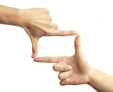 means: hand symbol that means frame on white background Stock Photo