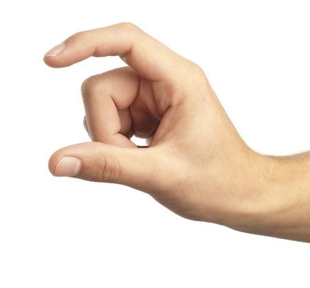 Hand-Symbol, das bedeutet weißen Hintergrund aufgreifen Standard-Bild