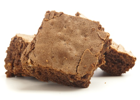 chocolate brownies isolated on a white background photo