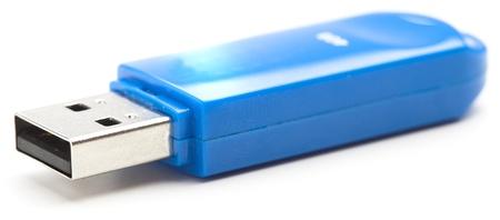 pen drive: blue pen drive on a white background