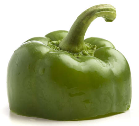green pepper slices on white background, closeup photo