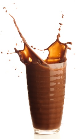 chocolate shake: chocolate shake splash on a white background Stock Photo