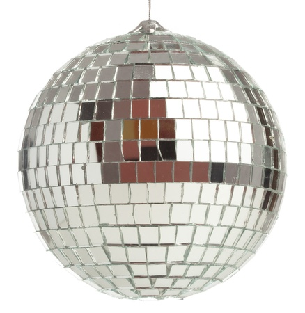 closeup of a mirrorball on a white background photo