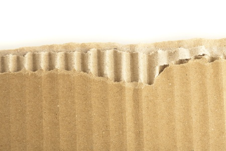 closeup of cardboard texture on white background photo