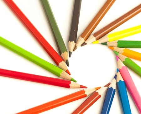 closeup of a crayons circle o white background photo
