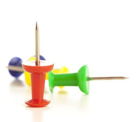 thumbtacks stack isolated on a white background  photo