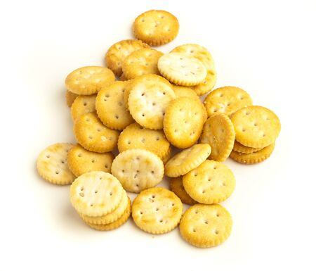 salted biscuit stack isolated on white background Stock Photo - 8574787