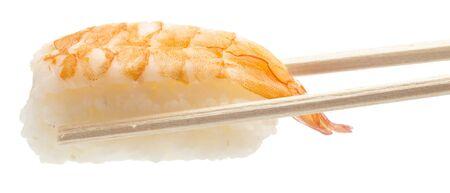 fresh sushi with prawn on white background photo
