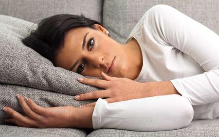 girl resting on the sofa, closeup photo photo